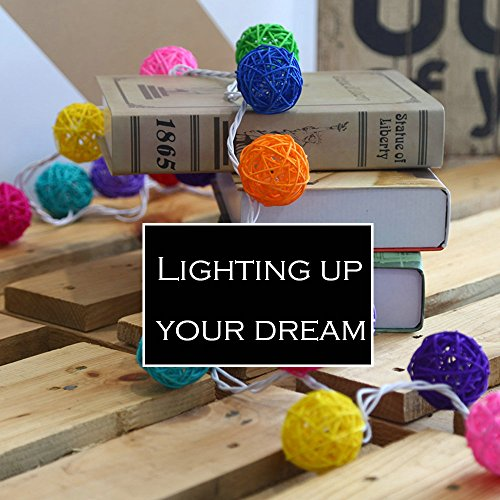 9.8 Feet 20 Rattan Ball Fairy String Lights Plug in, Flexible Romantic Warm Lighting for Home Decor (Colorful) 6