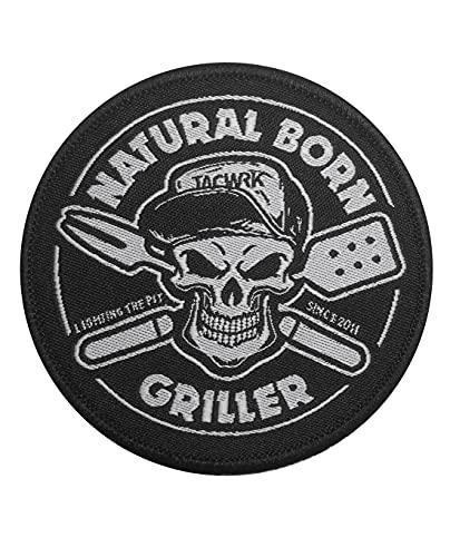 TACWRK Natural Born Griller Fun Morale Patch Klett Lustig