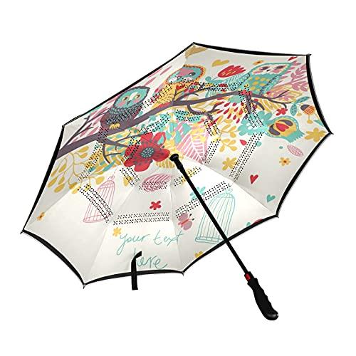 ISAOA - Paraguas de golf con diseño de búhos sentado en el árbol, con funda de transporte