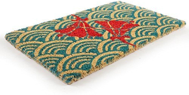 Entryways Scalloped Floral Handwoven Coconut Fiber Doormat by Entryways