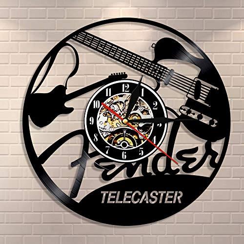 Cwanmh Wanduhr E-Gitarre Design Schallplatte Wanduhr Musikinstrument Musikstudio einzigartige Moderne Kunst Retro Vinyl LP Wandbehang Tisch 30 cm x 30 cm
