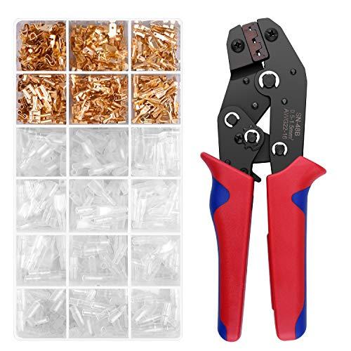 Crimpzange Flachsteckhülsen Set, BONROB Crimpwerkzeug mit 300 stück Kabelstecker AWG26-16 0,5-1,5 mm² BO007
