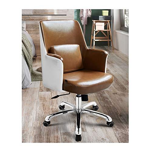 Silla de oficina giratoria de piel sintética para muebles de escritorio, silla ergonómica ajustable para computadora con reposabrazos (para hombres y mujeres) (color: marrón)