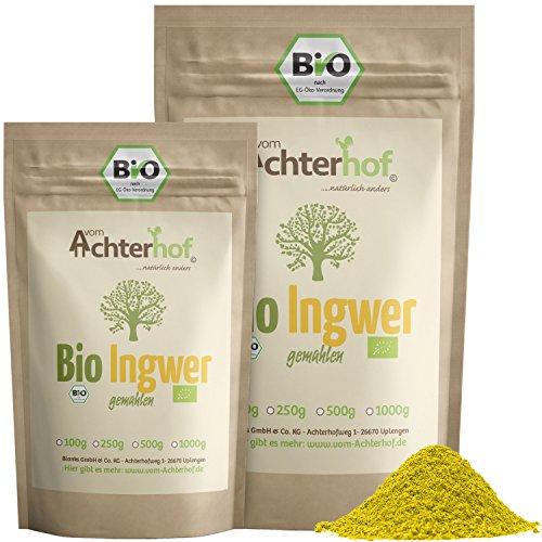 Bio Ingwerpulver (500g) | Ingwer gemahlen | Ingwerwurzel gemahlen perfekt fuer Ingwertee...
