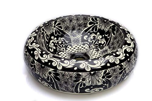 Cerames Serena - Mexikanische Rund Aufsatzwaschbecken schwarz | 40 cm Keramik Talavera klein Waschbecken aus Mexiko | Buntes Deko motiven
