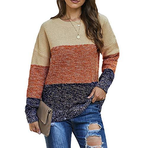 DISCOUNTL Suéter femenino suelto de tres colores en contraste para mujer, costura de cuello redondo, manga larga (producto solo contiene suéter) Marrón marrón S
