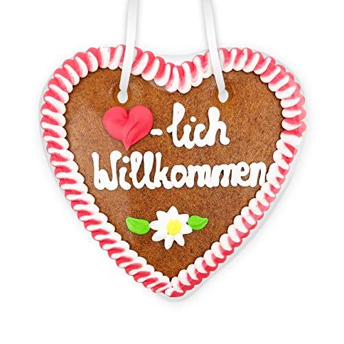 Lebkuchenherz - 14cm - Herzlich Willkommen