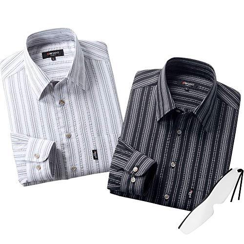 (ピエルッチ)pierucci サッカー生地 ロールアップ 長袖シャツ 2色組 GV-011 しおり型ルーペ付き (L)