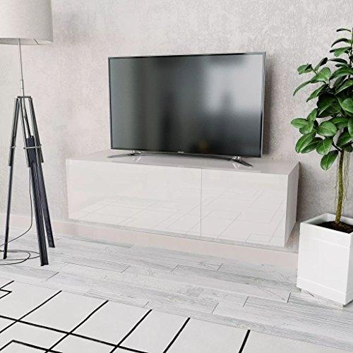 Tidyard Mueble de TV con 2 Compartimentos de Aglomerado y PVC de Aspecto Elegante y Moderno 120x40x34cm Blanco Brillante