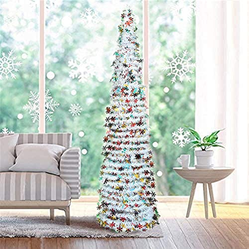 Fonder Mols White Artifitial White Christmas Tree 5 ft Collapsible, Pop Up Snow Tinsel Coastal Snowflake Xmas Tree for Holiday Home Fireplace Decorations