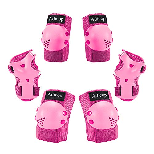 Adicop Kids/Youth Knee Pad Elbow Pads Guards for Rollerblading Skateboard Cycling Skating Bike Scooter 3 in 1 Kids Protective Gear Set for 3-14 Years Old Boys Girls