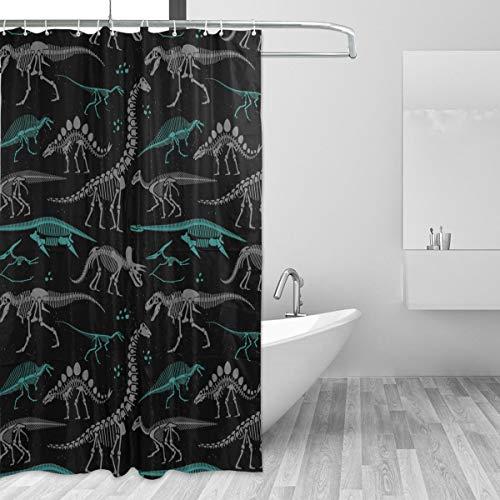 Emoya Duschvorhang, grau-blau, Dinosaurier-Skelett, wasserdicht, schimmelresistent, waschbar, Polyester, mit 12 Haken, 180 x 180 cm