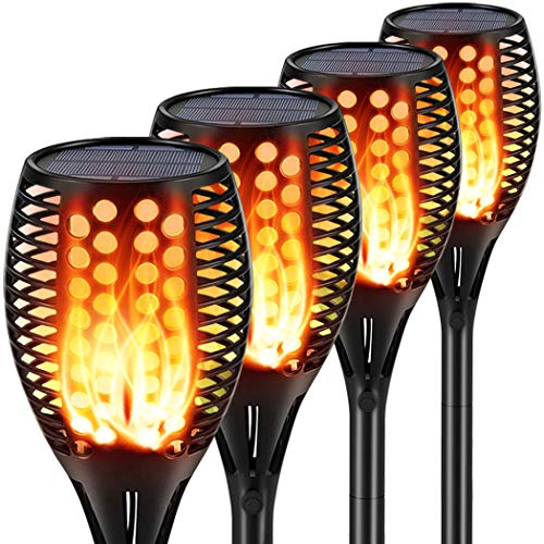 Aityvert Solar Lights Upgraded 42.9 Inch, Solar Flickering Flame Torch Lights Dancing Flames Landscape Decoration Lighting Dusk to Dawn Auto On Off Outdoor Path Lights for Garden Patio Driveway 4 Pack
