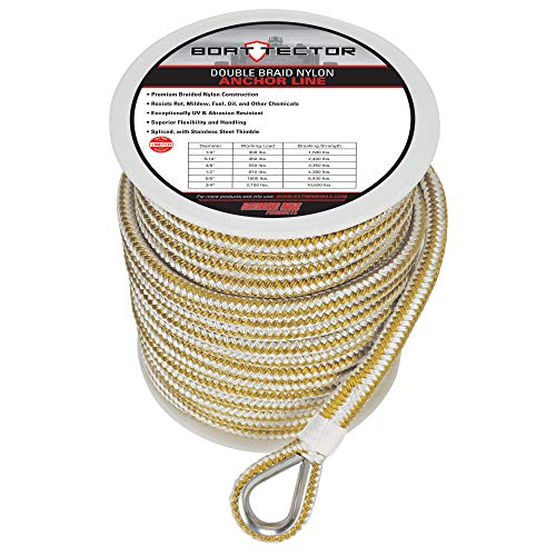 Extreme Max 3006.2258 BoatTector Premium Double Braid Nylon Anchor Line with Thimble - 1/2' x 150', White & Gold
