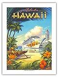 Buque de crucero Pride of Hawaii – Tours de Aloha, Puerto de Honolulu – Póster de viaje a Hawaii de Kerne Erickson – Primer papel de bambú con impresión artística 43 x 56 cm