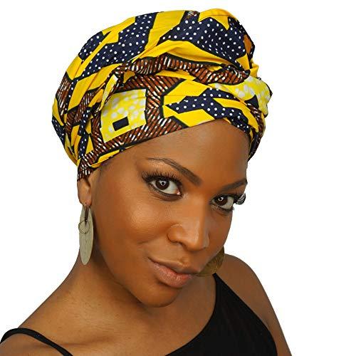 100% African Wax Cotton Ankara Print Headwraps & Turbans | Authenthic Kente Fabric Head Wraps | Like It's Golden
