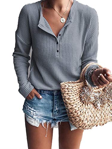 Famulily Women's Casual Buttons V Neck Tshirt Flowy Long Sleeve Waffle Knitted Blouse Tops Grey L