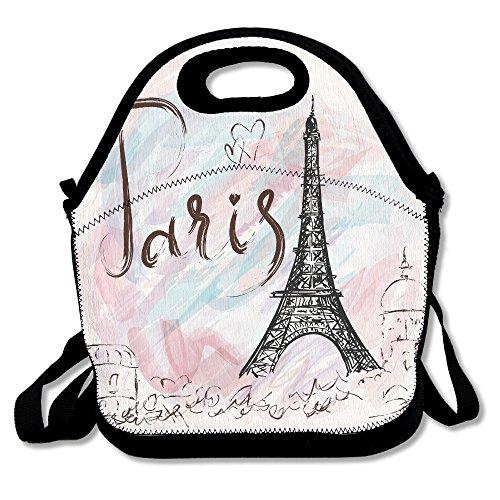 Neoprene Lunch Tote - Cool Paris Print Waterproof Reusable Lunch Box For Men Women Adults Kids Toddler Nurses With Adjustable Shoulder Strap - Best Travel Bag