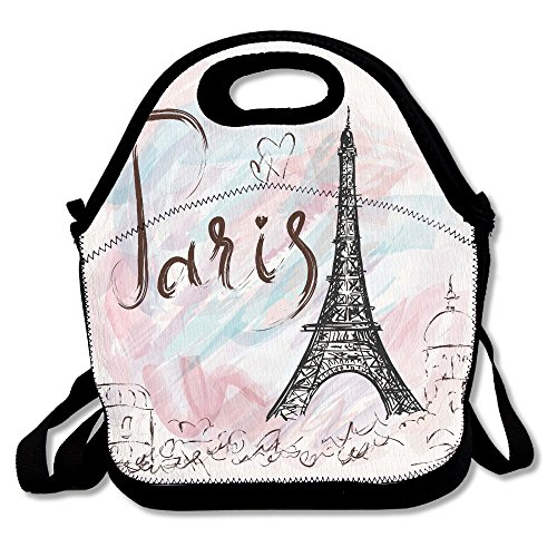 Neoprene Lunch Tote - Cool Paris Print Waterproof Reusable Lunch Box For Men Women Adults Kids Toddler Nurses With Adjustable Shoulder Strap - Best Travel Bag