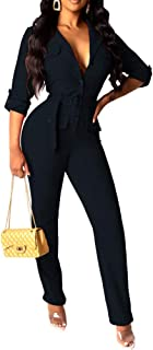 acelyn Women's Long Sleeve Turtleneck Zipper Bodycon Bandage Jumpsuit Tight Long Pants Rompers