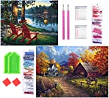 YAOYIN Punto de Cruz Diamante,2 Pack 5D Diamond Painting Set,DIY 5d Diamond Pintura de Diamantes Completo para decoración de la Pared del hogar (Village Farm 50X40CM y Village River 40X30CM)