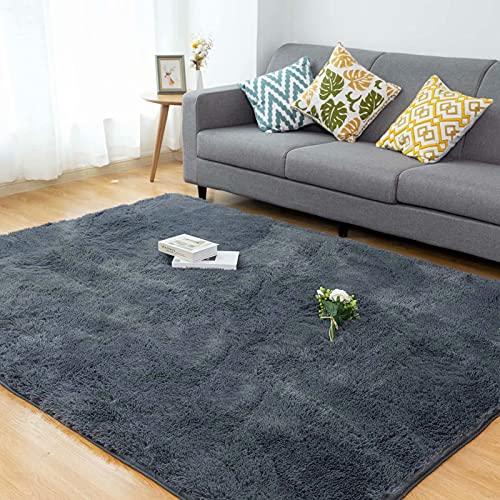 Alfombra Salón CHOSHOME Home Alfombra Interior Suave Alfombra de Pelo Largo para Salón o Dormitorio (Gris,120*180cm)