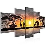 Photo Afrique coucher de soleil Décoration Murale 200 x 100 cm Toison - Toile Taille XXL Salon Appartement Décoration Photos...