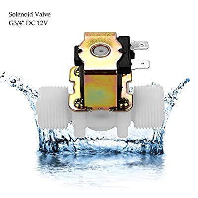 "G3/4""Solenoid Valve Plastic Brass DC 12V, N/C Normally Closed Inlet Water Solenoid Valve Quick Connect,Electromagnetic Valve,for Automatic Cleaning Of Electrical Equipment, Solar Water Heater by Jectse"