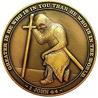 The Task Ahead, I Can Do All Things, Challenge Coin, Antique Gold Plated, Featuring a Kneeling Knight Templar and Philippi...