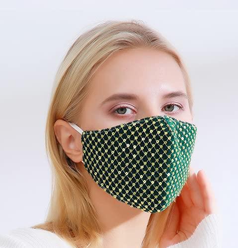 FleurVC Masque de visage tendance pour femme, fil réglable, coton lavable, cadeau pour une amie (Vert-1 pièce)