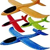 4Pack Airplane Toys Upgrade 17.5' Large Throwing Foam Plane,2 Flight Mode Glider Plane,Foam Airplanes For Kids,Gifts For 3 4 5 6 7 Year Old Boy,Outdoor Sport Toys Birthday Party Favors Foam Airplane