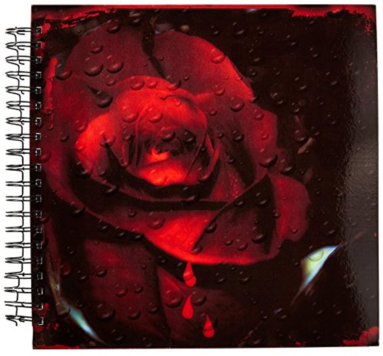 3dRose db_129750_2 Computer Enhanced Gothic Red Rose Memory Book, 12 by 12-Inch