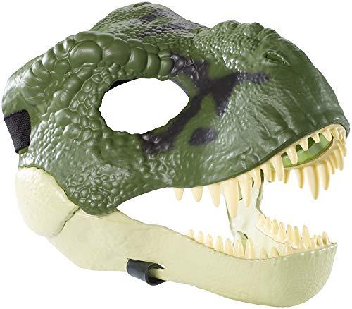 Jurassic World Tyrannosaurus Rex Maske mit offenem Kiefer, realistischer Textur und Farbe, Augen- und Nasenöffnungen und sicherem Riemen, ab 4 Jahren
