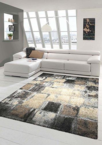 Designer Teppich Moderner Teppich Wohnzimmer Teppich Kurzflor Teppich Barock Design Meliert Karo Design in Braun Grau Creme Größe 120x170 cm