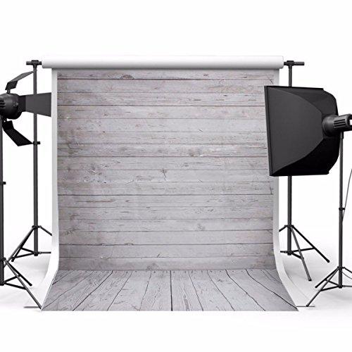 Showyou 5x7ft Grey Wood Wall & Floor Silk Fabric Photography Backdrop Customized Studio Background Studio Props