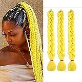 165G Jumbo Braiding Hair Yellow Synthetic Jumbo Braids 3 Packs