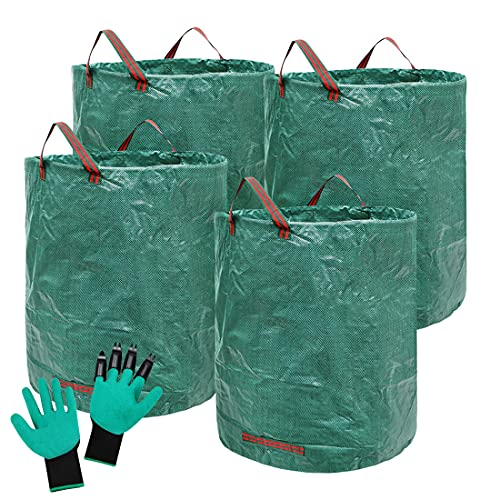 4 PACK Yard Waste Bags - 72 Gallons Heavy Duty Reusable Garden Waste Bag Butler with Gardening Gloves - Garden Leaf Bags for Collecting Leaves Grass Clippings Yard Debris (H33, D26.7 inches)