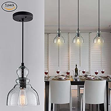 Donglaimei Industrial Mini Pendant Lighting with Handblown Clear Seeded Glass Shade, Adjustable Edison Farmhouse Kitchen Lamp for Kitchen Island, Restaurants, Hotels and Shops(1 Pack)