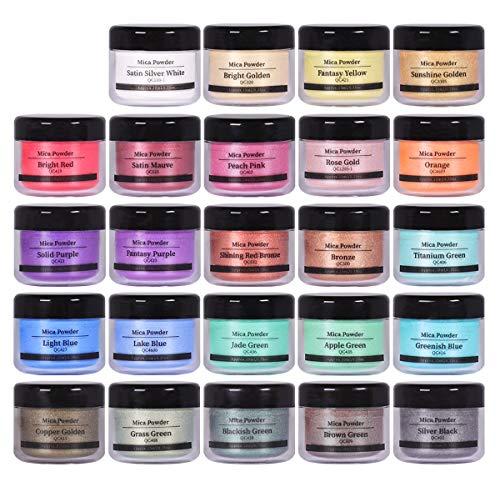 SEISSO DEWEL 24er×10ml Epoxidharz Farbe, Metallic Farbe Resin Pulverfarbe Seifenfarbe Pigmentpulver Mica Pulver Powder zur Farbherstellung, Jede Farbe ca. 10g