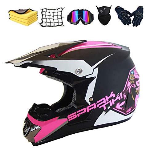 Casco de motocross para niño, con gorro, guantes, máscara, red elástica, para BMX, MTB, Quad Enduro, ATV, Scooter (B,XL)