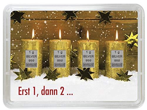 Goldbarren 1g 3g 4g Weihnachten Weihnachtsgeschenk Silberbarren Platinbarren (Kerzen erst 1 dann 2 Silberbarren - 4g)