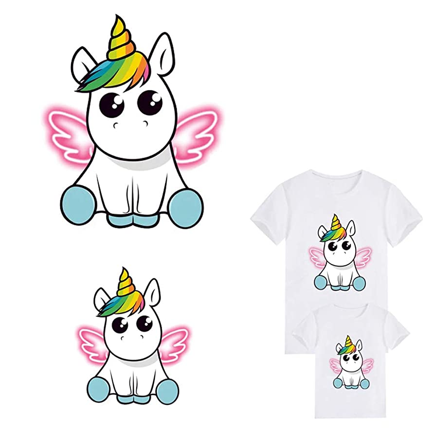 Unicorn Iron On Patch Iron-on Heat Transfer Stickers Dabbing Wings Unicorn Animal Patches Child T-Shirt Dresses Sweater Thermal Transfer Patch for Clothing (2 PCS Large and Small) nsrrxhj8162642