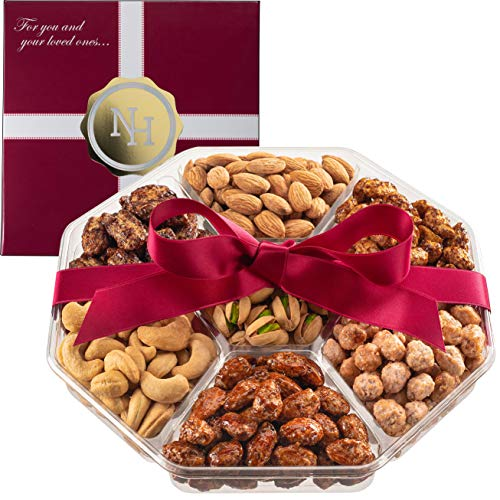 Holiday Christmas Nuts Gift Basket - Fresh Sweet & Salty Dry Roasted Gourmet Nuts Gift Basket - Edible Arrangement Food Gift Basket for Thanksgiving, Fathers Day, Sympathy, Family, Men & Women