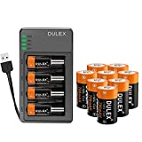 8. Arlo Batteries Rechargeable 12 Pack, DULEX 700mAH 123A Batteries [Replacement 3V CR123A Batteries] and Charger for Arlo VMS3130 VMC3030 3200 3330 3430 3530 Security Cameras, Alarm System, Flashlight