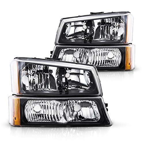 Silverado Headlight from Torchbeam, Replacement Headlight Assembly for 2003-2007 Silverado/Avalanche 1500/2500/3500 Black Housing Amber Reflector Clear Lens Driver and Passenger Side