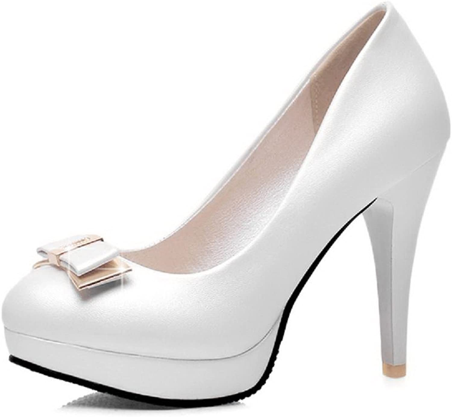 AllhqFashion Women's Pull On Spikes Stilettos Pu Solid Round Closed Toe Pumps-shoes