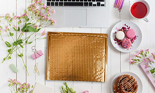 ABC 10 Pack Gold Bubble mailers 13 x 11. Folder size Metallic padded envelopes 13x11. Cushion envelopes Peel and Seal. Large padded mailing envelopes for shipping, packing, packaging. Wholesale Photo #7