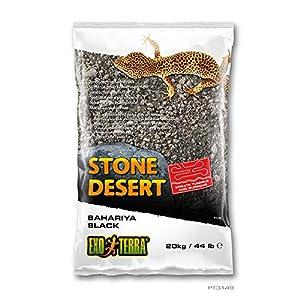 Exo Terra PT3149 Bahariya Black Stone Desert Substrate for Terrariums, Malleable, Black, 20 kg