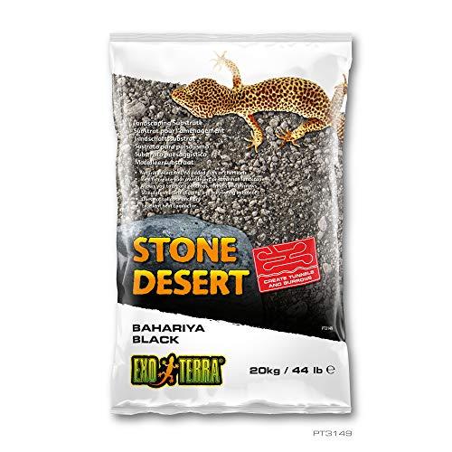 Exo Terra - Stone Desert lehmhaltiger natürlicher Terrarium Bodengrund Ohne Chemikalien (20Kg, Black Stone)
