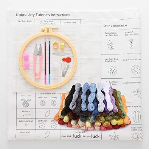 Embro4U 刺繍糸 50色 刺しゅうキット 刺繍ツールセット 刺繍針糸通し リストピンクッション 刺繍はさみ 刺繍枠 手刺繍キット 初心者向け練習キット (50色セット1)